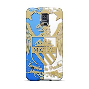 Shock Absorbent Hard Phone Cover For Samsung Galaxy S5 (Pjf1865BNfP) Unique Design Colorful The Logo Of Manchester City Image