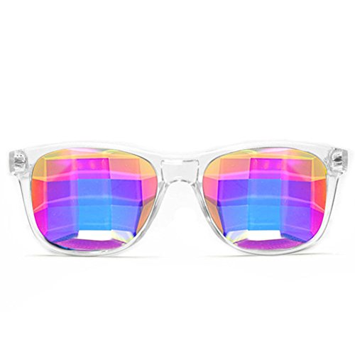 (GloFX Bug Eye Ultimate Kaleidoscope Glasses (Clear, Bug Eye Lens) - Rave Rainbow EDM Diffraction)