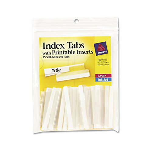 Avery 16241 Insertable Index Tabs with Printable Inserts, Two, Clear Tab (Pack of 25) -