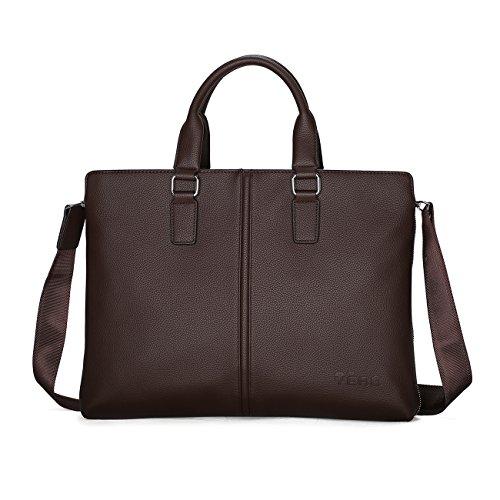 Leather Briefcase for Men, Shoulder Leather Laptop Briefcase Business Office Bag Slim Expandable Briefcase Brown Brown Expandable Bag