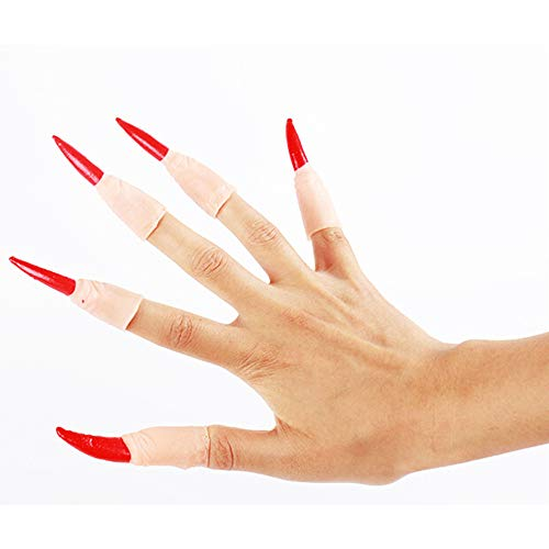 10Pcs Zombie Witch Fake Finger Nails Set Halloween Party Prop]()