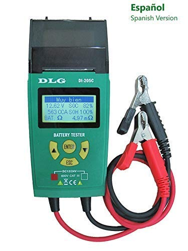 DLG DI-205C 12V 24V Automotive Truck Battery Tester Checking CCA/SOH/Internal Resistance/Starting System/Charging System/Maximum Load System Printer English Spanish Interface by DLG (Image #2)
