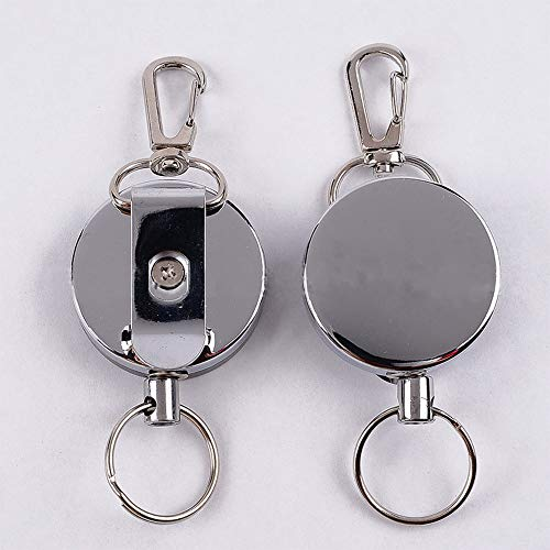 2 Pack - Heavy Duty Retractable Key Chain Retractable Key with 39 Inches Steel Wire Rope,Tight Metal Belt Clip by Reel