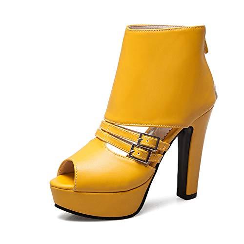 SSLOPY& New Large Size 34-50 Fashion Buckle Decoration Summer Shoes Woman Sandals High Heels Platform Party Sandal Woman Yellow - High Heel Sandals Charles