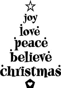 Amazon Com Joy Love Peace Believe Christmas Cute Vinyl