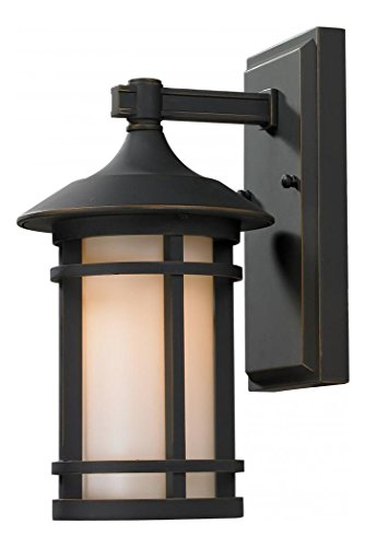 - 528S-ORB Oil Rubbed Bronze Woodland 1 Light Outdoor Wall Sconce with Matte Opal Shade