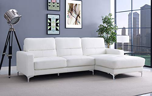 Whiteline Contemporary Modern SR1343P-WHT Memphis Faux Leather Sectional Right Facing Chaise with Chrome Frame and Legs, White
