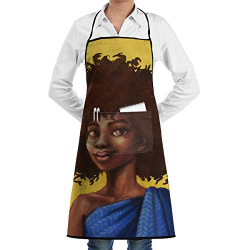 Lao Yang Mai Yellow Afro Girl Blue Hair Wig BBQ Waiter Housekeeper Pet Grooming Bartender Kitchen Beautician Hairstylist Nail Salon Carpenter Decorations Ornament Theme Stuff Apron Accessories