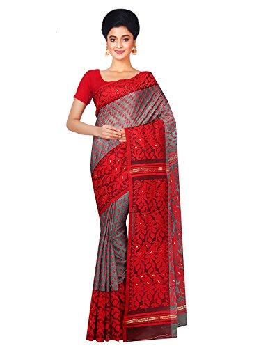 RLB Fashion Women's Cotton Silk Handloom Dhakai Jamdani Saree Free Size Red & Grey