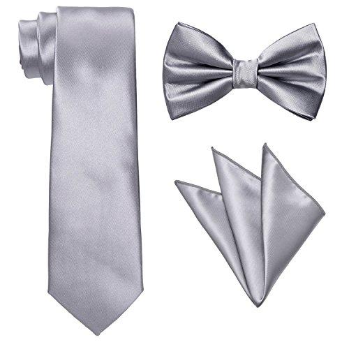 Men's Necktie,Bowtie & Pocket Square-3pc Set Pure Deluxe Neck Tie Silver by Yakee Lemon
