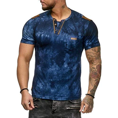 Men's Summer Fashion Pattern Print Casual Button O-Neck Muscle Slim Short Sleeve T Shirt Top (Blue, XL)