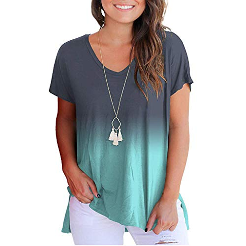 Mebamook Women's Casual Loose Hollowed Out Shoulder Three Quarter Sleeve Shirts Women Blue