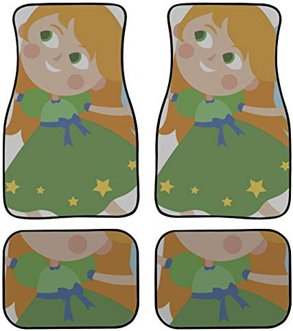 4 Pieces Mat Carpet for Cars Flying Angel Cartoon Fairy Swing Carpet Car Floor Front & Rear Non-Slip Carpet with Rubber Backing for Car SUV Van & Truck