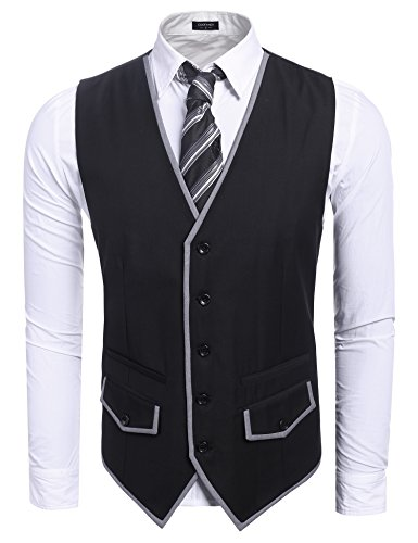 Coofandy Men's Fashion Single-Breasted Button Patchwork Business Suit Vest Waistcoat,Black,Small