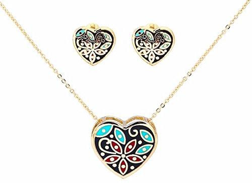 Banju 18K Gold-Plated Heart shaped Floral Enamel Pendant Necklace + Earrings