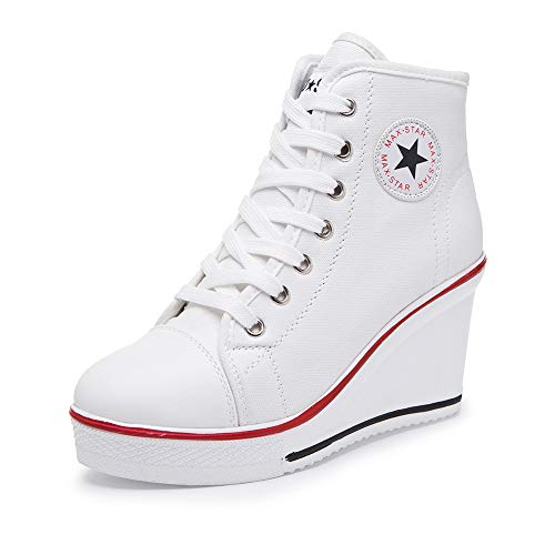Sokaly Women's Sneaker High-Heeled Canvas Shoes High-Top Wedge Sneakers Platform Lace up Side Zipper Pump Fashion Sneakers (5.5 B(M) US, White)