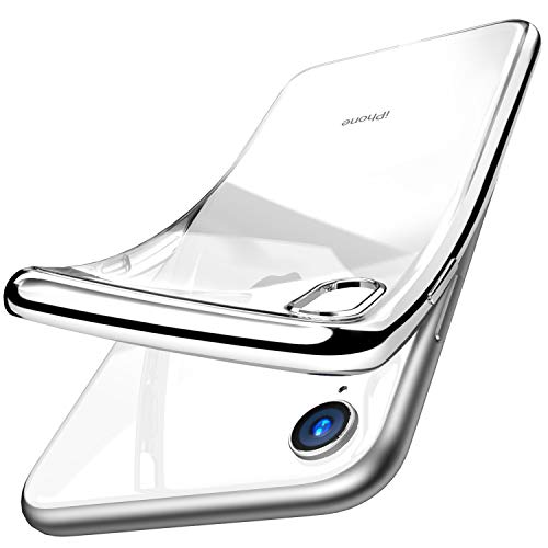 (TOZO for iPhone XR 6.1 Inch (2018) Premium Clear Soft TPU Gel Ultra-Thin [Slim Fit] Transparent Flexible Cover for iPhone XR (Silver))
