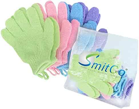 SMITCO Exfoliating Gloves - 4 Pairs Full Body Scrub - Shower or Bath Spa Exfoliation Accessories For Men and Women - Scrubs Away Dead Cells For Soft Skin and May Improve Blood Circulation