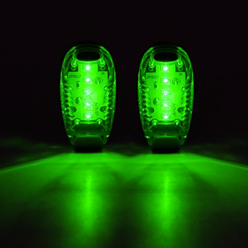 - Bseen Led Safety Lights Clip On Strobe Light Running Cycling Bike Tail Dog Collar Warning Night Light Hight Visibility Accessories for Reflective Gear (2 Pack)-Green