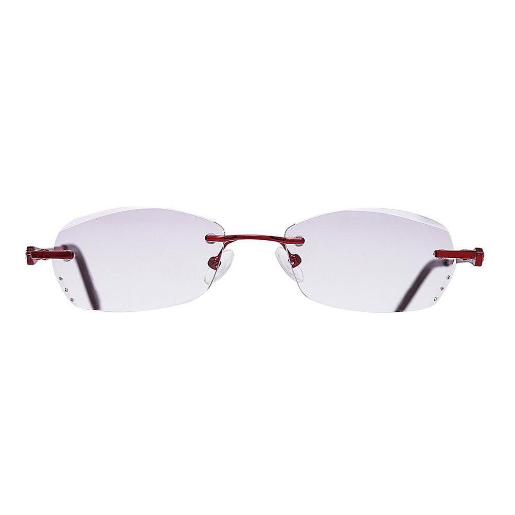 Meijunter Frauen Eyewear Gradienten lila getönte Linse rahmenlose randlose dünne Lesebrille F7bKc