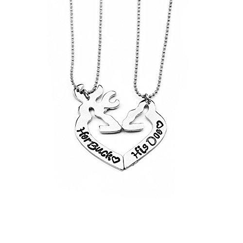 her buck his doe elk pendant necklace Set(2PCS) (Mens Buck Necklace)