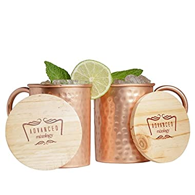 Advanced Mixology Moscow Mule 100% Pure Copper Mugs (Set of 2)- 16 Ounce with 2 Artisan Hand Crafted Wooden Coasters-Classic