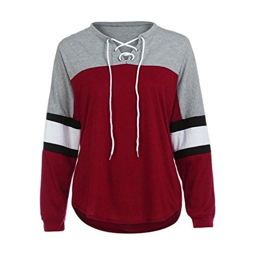 Vintage Blouse,BeautyVan New Design Womens Vintage Long Sleeve Tops Casual Tee Shirt (M, Red)