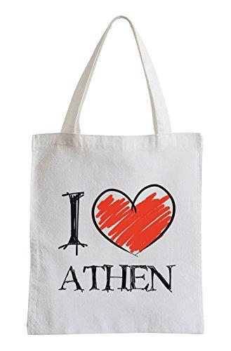 Amo Atene Divertimento sacchetto di iuta