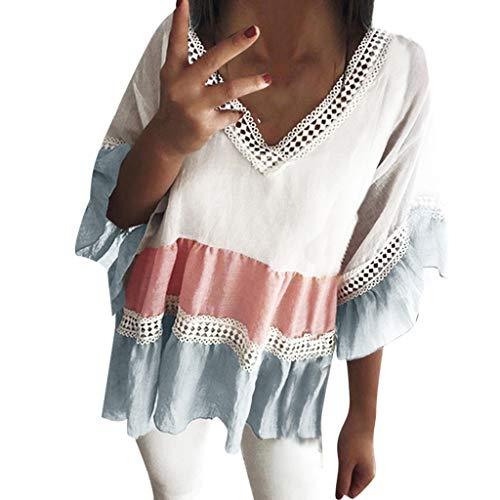 YEZIJIN Women V Neck Crochet Loose Contrast Color Hollow Mesh Splicing Blouses Tops 2019 New Sexy T-Shirt -