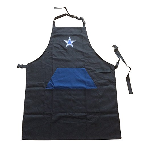 ENJOY 11 Adjustable NFL Professional Grade Chef Apron for Kitchen, BBQ, and Grill (Black) with Towel Loop (Dallas Cowboys)