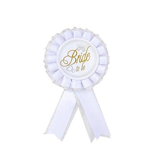 (skoqjFQSen Bride to Be Badge Rosette Hen Night Bachelorette Party Accessory Brooch Pin - White )