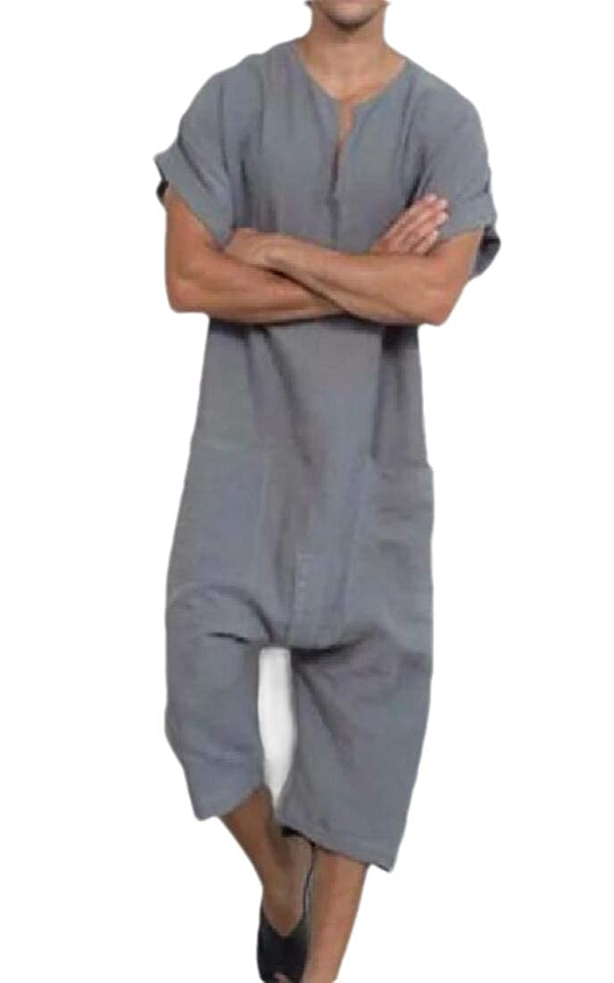 Beloved Mens Linen Solid Ethnic Relaxed-Fit Pockets Jumpsuits Rompers