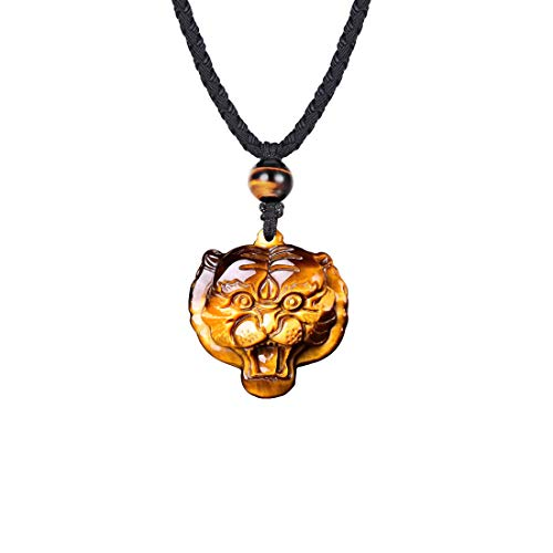 - HASKARE Mens Stone Pendant Tiger Eye Chakra Healing Pendant Necklace Natural Stone Jewelry, Adjustable 0