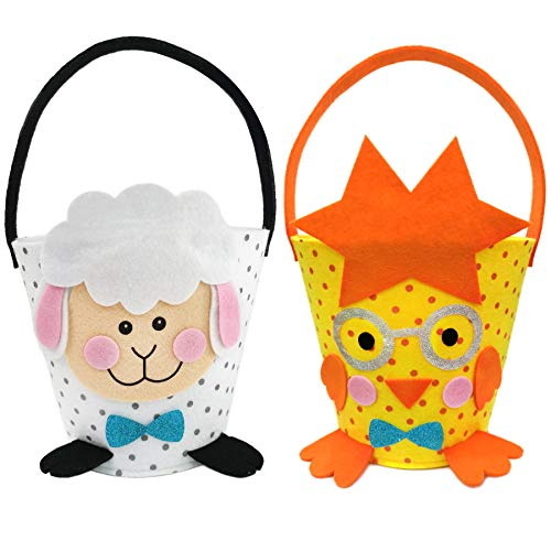 Bstaofy 2 pcs Easter Egg Hunt Chicken Bucket Lamb Felt Basket Gift Storage Hand Bag Set for Boys Girls(Lamb and Chicken)