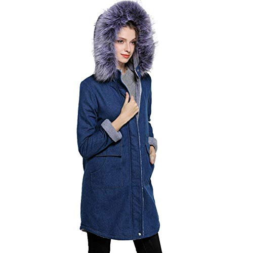 Blau Moda Giacche Invernali Addensare Mode Cerniera Confortevole Manica Donna Giacca Jeans Anteriori Lunga Di Cappuccio Con Cappotto Giovane Tasche Marca Bolawoo Removibile Cappotti BqwdRpnR
