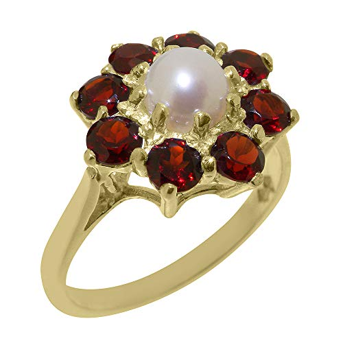 Traditional Solid 9k Yellow Gold Ring with Cultured Pearl & Garnet Womens Statement Ring - Size 4.25 9k Yellow Gold Garnet Ring
