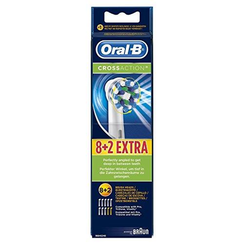 Oral-B CrossAction Aufsteckbürsten (für elektrische Zahnbürsten), 8+2 Stück