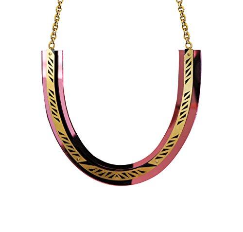 Sarah angold elati gravé à la main en laiton et acrylique collier de 28cm