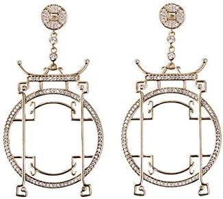 Pendientes de gota de arco de elemento chino único Pendientes de cristal de color oro rosa Cz para mujeres Joyas Regalo de cumpleaños