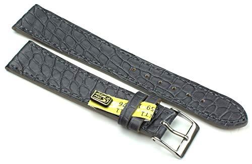 20 mm XL äkta alligator klassisk hänglampa i Tyskland klockarmband grå