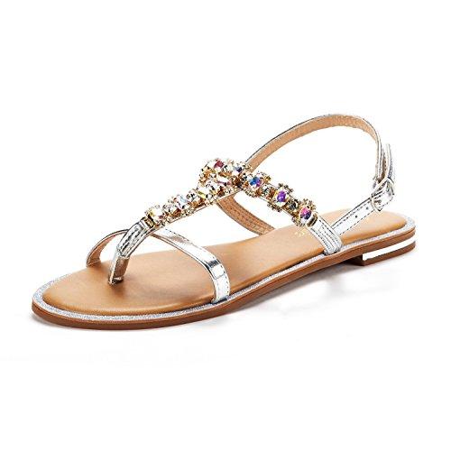 (DREAM PAIRS Women's Silver T-Strap Flat Sandals Size 6 M US)