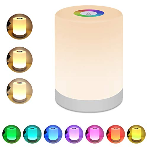 Night Light for Kids, Lightimes Touch Lamp for Bedrooms Living Room Portable Table Bedside Lamps with USB Rechargeable Internal Battery Dimmable Warm White Light & Color Changing RGB ... (White)