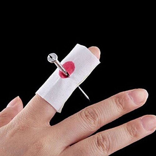 Nail Through Finger Bleed Trick Prank Thumb Bloody Bandage Halloween Prop Joke