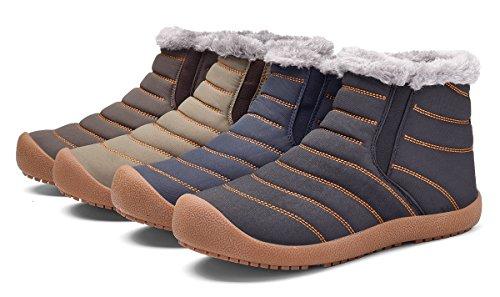 Blue6822 High Slippers Fur Slip Boots Top Outdoor Winter Anti Waterproof Fully Lined Snow Mens with MOHEM ZHxwpA