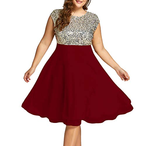 Benficial Fashion Women Plus Size O-Neck Solid Sleeveless Zipper Chiffon Sequined Dress Wine