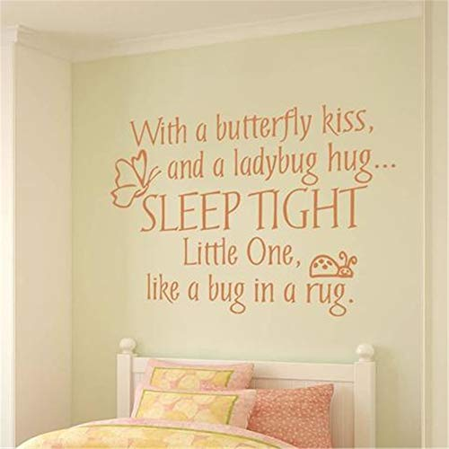 Marydecals Decorative Wall Stickers Removable Vinyl Decal Art Mural Home Decor with a Butterfly kiss and a Ladybug Hug Sleep Tight for Kids Room