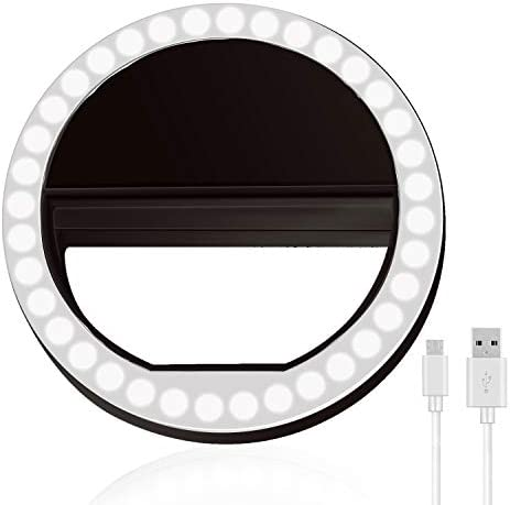 Selfie Ring Light, XINBAOHONG Rechargeable Portable Clip-on Selfie Fill Light with 36 LED for Smart Phone Photography, Camera Video, Girl Makes up Black