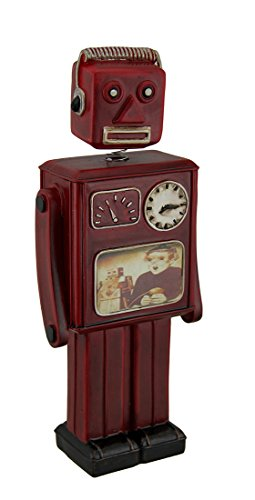 Zeckos Resin Toy Banks Red Vintage Finish Retro Bobble Head Robot Coin Bank 10 Inch 4.25 X 10.25 X 2.25 Inches (Retro Bobble Head)