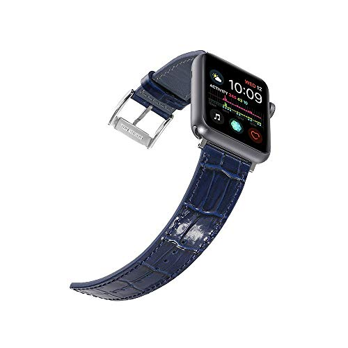 Faytop for 38mm 40mm Apple Watch Band Women & Men Bright Patent Genuine Leather Strap with Crocodile Grain Finish for iWatch Series 5/4/3/2/1 Sport and Edition Blue