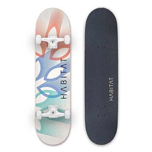 HABITAT SKATEBOARDS Leaf Overlay Complete Standard Skateboard, 8.25, Multicolor